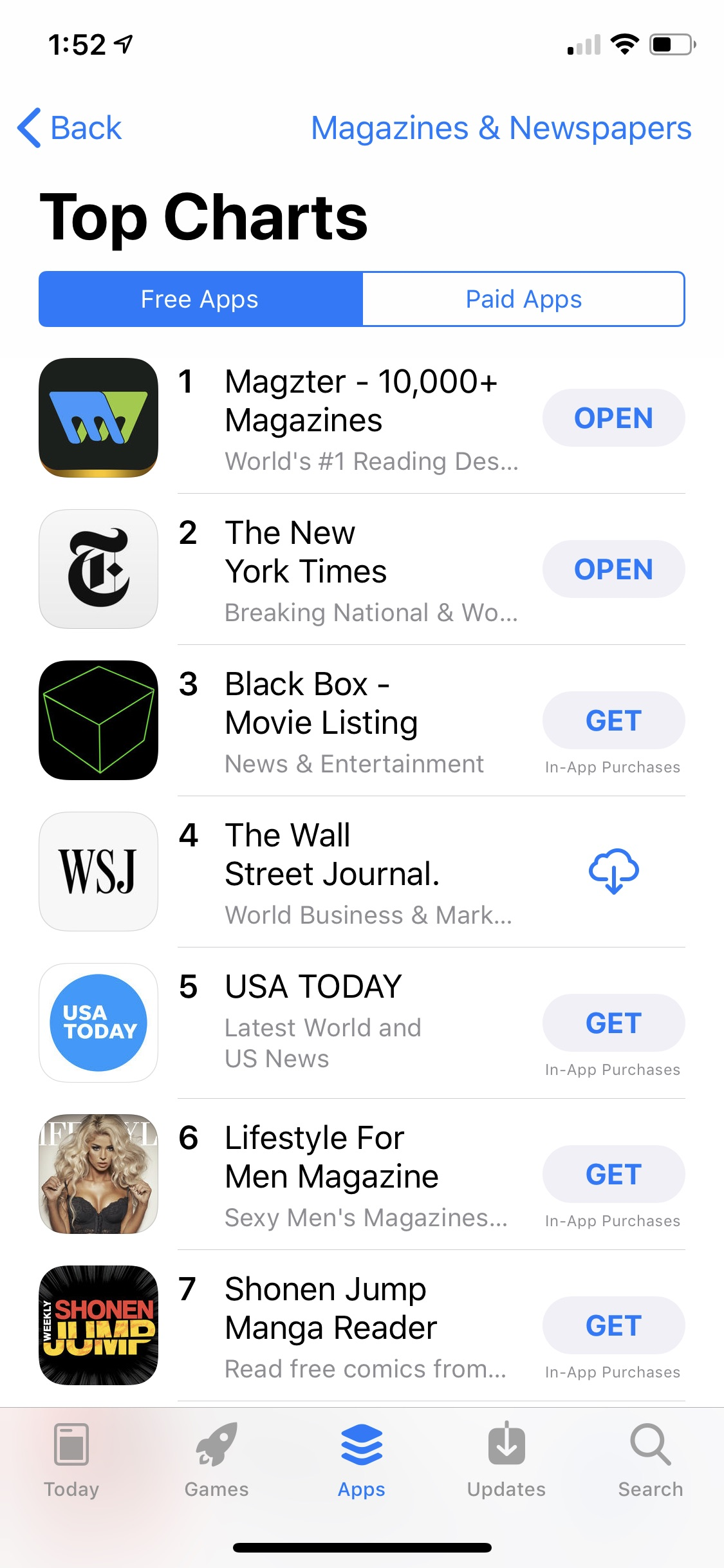 Magzter is ranked among the Top 10 iOS Apps Image